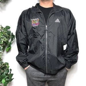 Adidas Vintage Black White Windbreaker Jacket - L